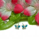 STERLING SILVER BUTTERFLY CZ STUD EARRINGS #4BL
