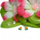 925 STERLING SILVER COLORFUL ENAMEL HEART STUD EARRINGS