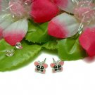 STERLING SILVER PINK ENAMEL BUTTERFLY STUD EARRINGS #22