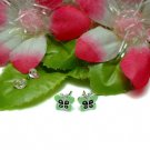 STERLING SILVER GREEN ENAMEL BUTTERFLY STUD EARRINGS