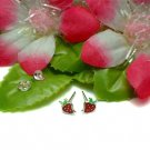 925 STERLING SILVER RED ENAMEL STRAWBERRY STUD EARRINGS