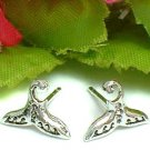 925 STERLING SILVER WHALE TAIL STUD EARRINGS #747