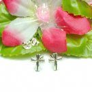 925 STERLING SILVER CROSS STUD EARRINGS #504