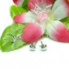 925 STERLING SILVER APPLE WITH LEAF STUD EARRINGS #457