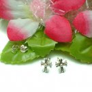 925 STERLING SILVER CROSS STUD EARRINGS #248