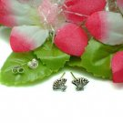 925 STERLING SILVER FOLDING FAN W/FLOWERS STUD EARRINGS