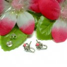 925 STERLING SILVER SCORPION PINK ENAMEL STUD EARRINGS