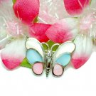 STERLING SILVER MULTICOL MOTHER PEARL BUTTERFLY BROOCH