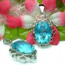 925 STERLING SILVER BLUE TOPAZ CUBIC ZIRCONIA PENDANT