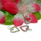 925 STERLING SILVER HEART PINK CZ CHARM / PENDANT #14