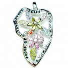 925 STERLING SILVER 2INCH FLOWER CUBIC ZIRCONIA PENDANT