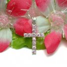 925 STERLING SILVER CROSS PINK CZ CHARM / PENDANT #54