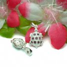 925 STERLING SILVER TURTLE AMETHYST CZ CHARM / PENDANT