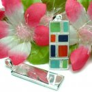 925 STERLING SILVER COLORFUL BAGUETTE PENDANT
