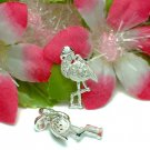 STERLING SILVER FLAMINGO CUBIC ZIRCONIA CHARM / PENDANT