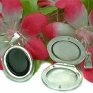 925 STERLING SILVER OVAL ONYX PHOTO LOCKET / PENDANT