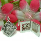 STERLING SILVER FILIGREE FLOWER PHOTO LOCKET / PENDANT