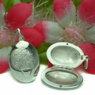 STERLING SILVER OVAL FLOWER PHOTO LOCKET / PENDANT #12
