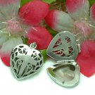 STERLING SILVER HEART WITH CROSS PHOTO LOCKET / PENDANT