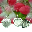 STERLING SILVER HEART W/ FLOWER PHOTO LOCKET PENDANT #1