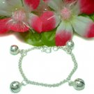 925 STERLING SILVER 5 INCH PLAIN JINGLE BELLS BRACELET