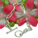 925 STERLING SILVER SIMPLE OVAL LINK TOGGLE BRACELET