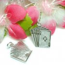 925 STERLING SILVER ROYAL FLUSH POKER CARD CHARM PENDAN