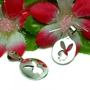 STERLING SILVER PLAYBOY BUNNY RABBIT CHARM PENDANT (#US-AN113)