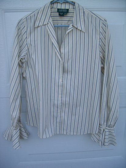 Green Lable Ralph Lauren Stripe Blouse SIZE MEDIUM