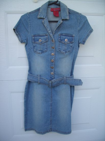 Hot Kiss Jean Belted Fashion Dress SIZE XS (X-Small)