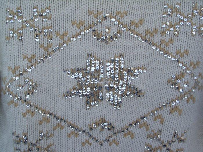 Alloy Embellished Cream Sweater SIZE LARGE