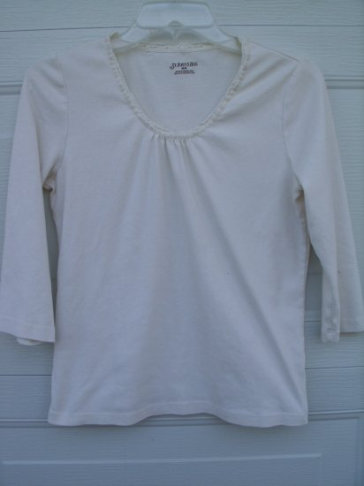 St Johns Bay Creal LS Lace Neck Tee SIZE MEDIUM