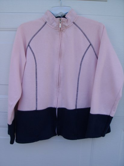 Jennifer Moore Pink and Navy Zipup SIZE LARGE