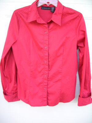 Attention Red Button-up Blouse SIZE LARGE