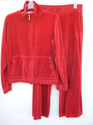 Tommy Hilfiger Red Velour Track Outfit 2pcs SIZE LARGE