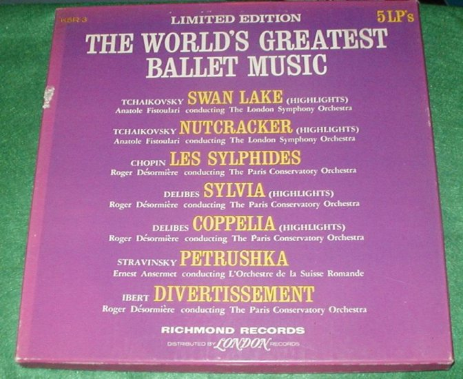 WORLDS GREATEST BALLET MUSIC ALBUM SET of 5 33RPM