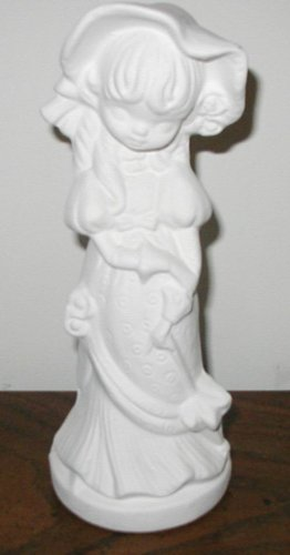 SPRINGTIME GIRL READY TO PAINT CERAMIC BISQUE CUTE