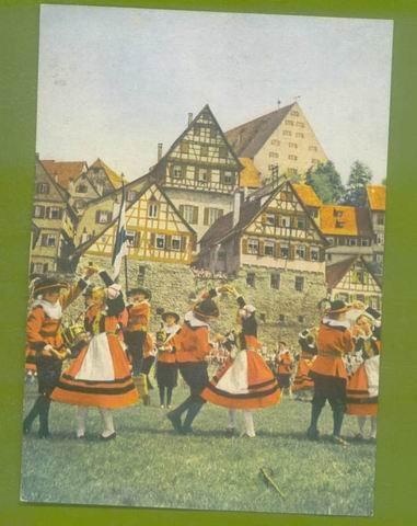 FRANKFORT GERMANY SALTDANCERS POST CARD SCHWABISCH HALL