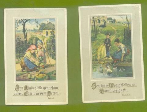 2 OLD VINTAGE GERMAN POSTCARD PRINTS KINDER CHILDREN