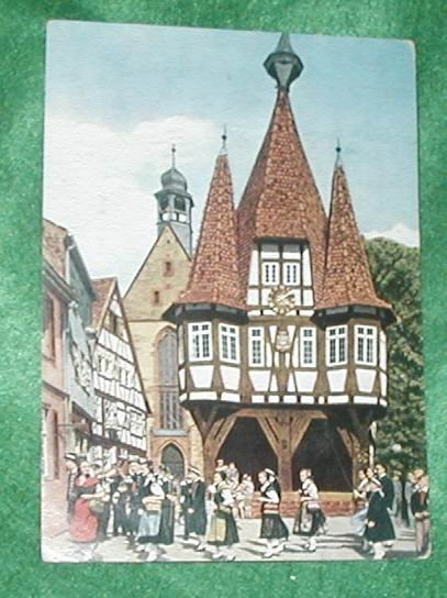 ODENWALD GERMANY POST CARD RATHAUS VON MICHELSTANDT
