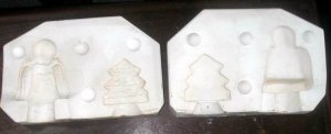 CERAMIC MOLD CHIRSTMAS NAPKIN HOLDER ANGEL TREE BYRON MOLDS