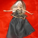 FANCY BARBIE DOLL BLACK EVENING GOWN CROCHET SHAWL FUR