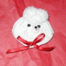 TOY WHITE POODLE CROCHET BARRETT RIBBON HAIR DO DAD