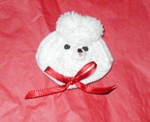BARRETT WHITE POODLE CROCHET  RIBBON HAIR DO DAD
