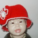 "BABY HAT HAND CROCHET RED W/ FLOWER 16"" BUCKET INFANT"