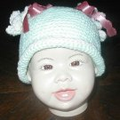 "BABY HAT MINT GREEN W/PIGGY TAILS  14"" NEWBORN  INFANT"