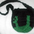 CROCHET SACK PURSE CROCHETED U.S.A BLACK GREEN HOMEMADE.