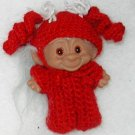"DOLL TROLL OUTFIT COSTUME CROCHET 3 1/2"" RED PIGGY TAIL JAMA"