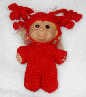 """DOLL TROLL OUTFIT COSTUME CROCHET 5"""" RED PIGGY TAIL PAJAMAS   3 PIGGY TAILS ON EACH SIDE. PAJAMAS"""