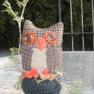 PIN CUSHION STUFFED LG  OWL HAND MADE HOMEMADE MADE USA. HOOTY